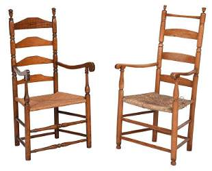 Two New England Ladder Back Armchairs