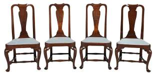 Assembled Set Four Boston Queen Anne Dining Chairs