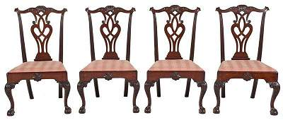 Rare Set Four Philadelphia Chippendale Side Chairs
