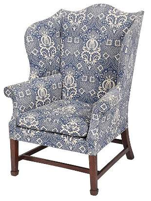 American Chippendale Mahogany Wing Chair