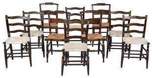 Assembled Set Ten Rush Seat Dining Chairs