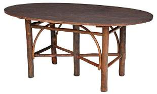 Rustic Old Hickory Oval Dining Table