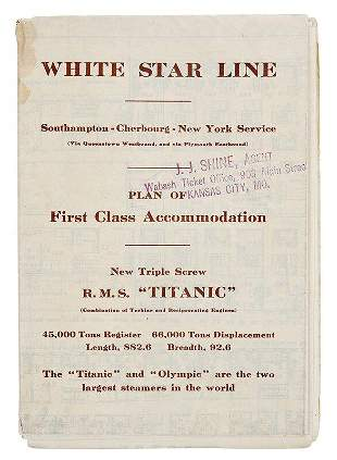 Titanic Plan of First Class Accommodation