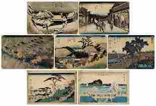 211: Seven Japanese woodblock prints: