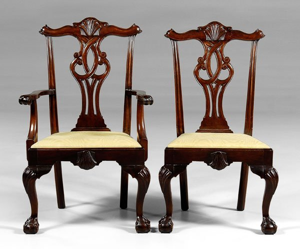 539: Two Chippendale style dining chairs: