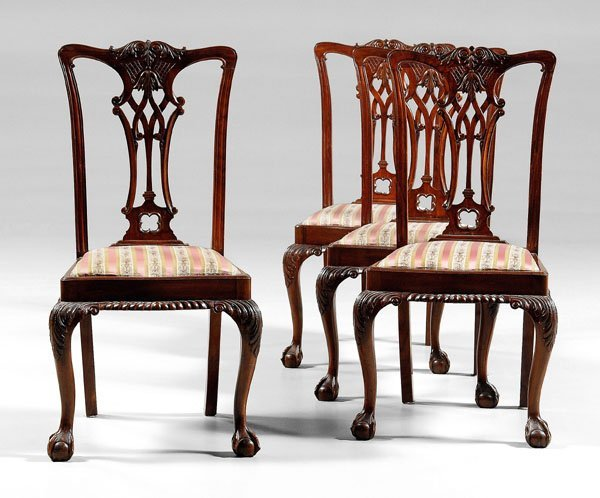 541: Set of four Chippendale style dining
