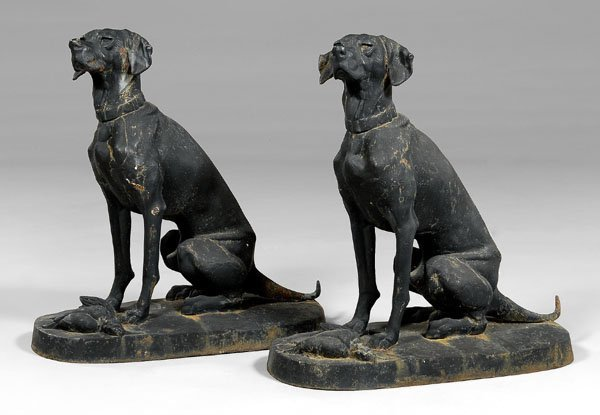 553: Pair cast iron seated hounds:
