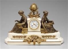 765: Bronze, marble shelf clock,
