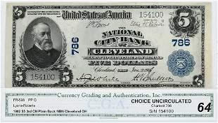 1902 $5 National City Bank Cleveland, Ohio