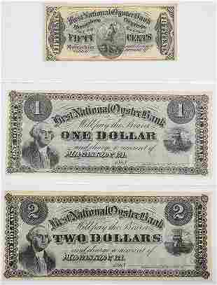 Three First National Oyster Bank Notes