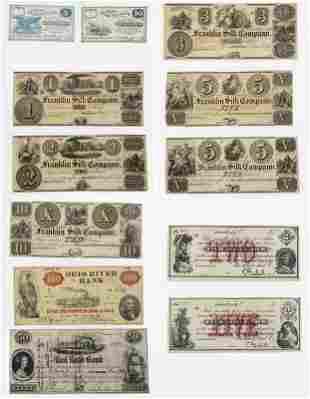 Dozen Ohio Obsolete Bank Notes