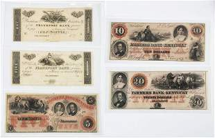 Five Kentucky Obsolete Bank Notes