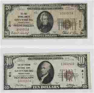 Two 1929 Gettysburg Pennsylvania National Notes