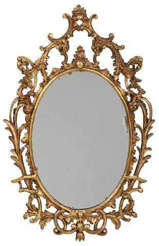 Rococo Carved Giltwood Oval Mirror