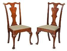 Pair Philadelphia Chippendale Walnut Side Chairs
