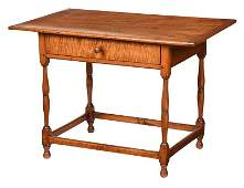 American William and Mary Tiger Maple Tavern Table