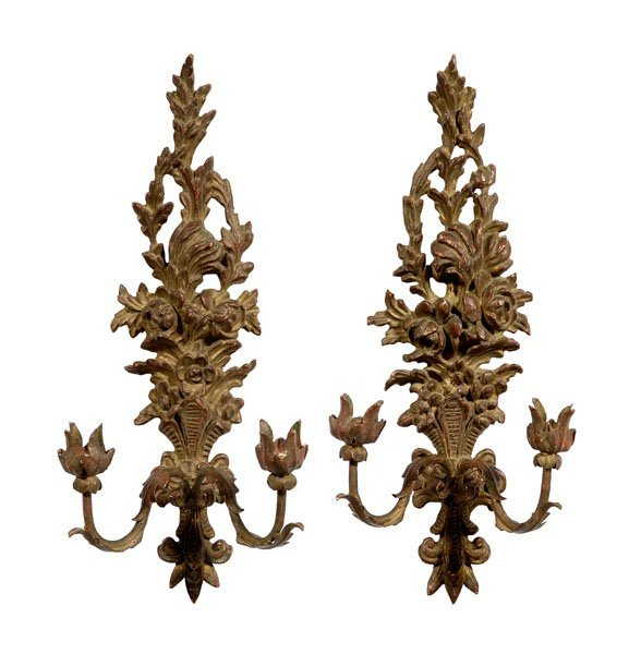 3: Pair rococo style gilt wood sconces: