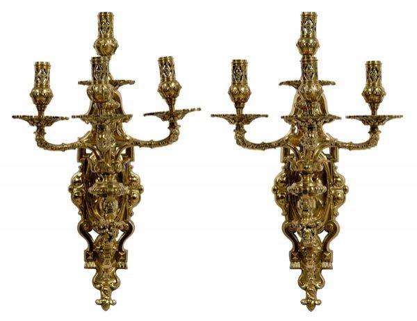 10: Pair brass Louis XVI style sconces: