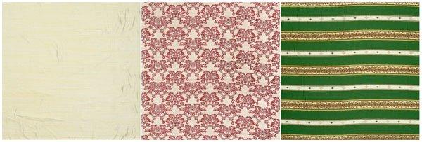 12: Three rolls of fabric:
