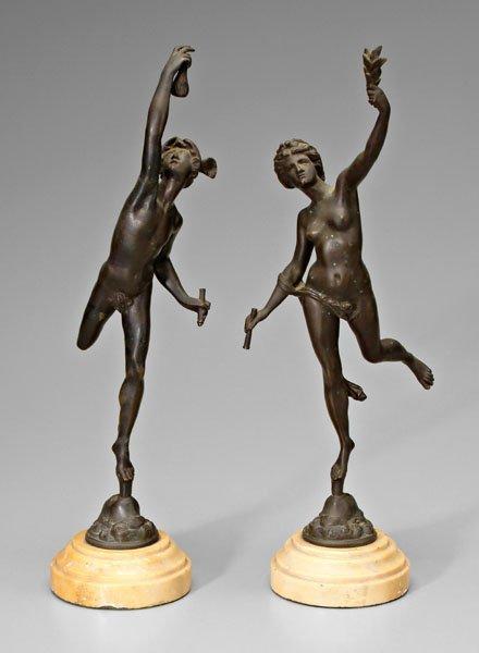 13: Pair bronzes after Giambologna,