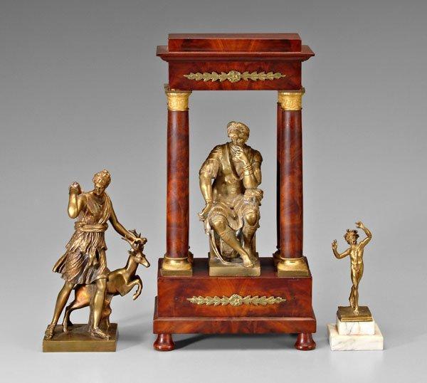 16: Three bronzes, clock stand: