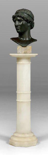 18: Classical bronze bust, pedestal: