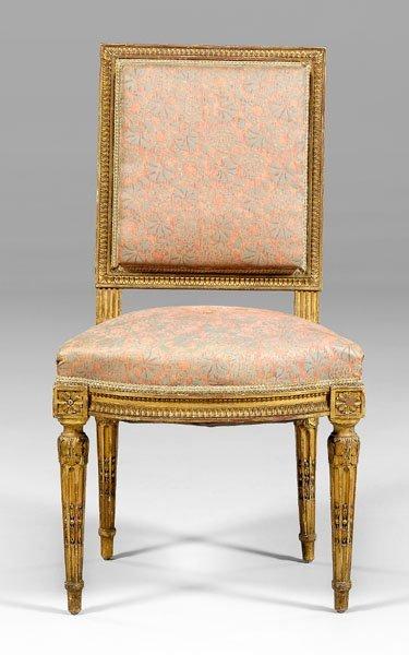 22: Louis XVI style gilt wood side chair,