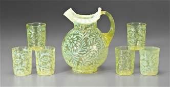 268: Seven-piece opalescent lemonade set: