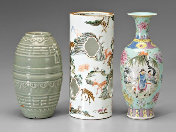 334: Three pieces Chinese porcelain: