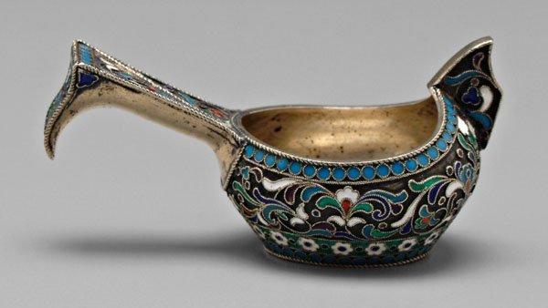 696: Russian silver and enamel Kovsh,