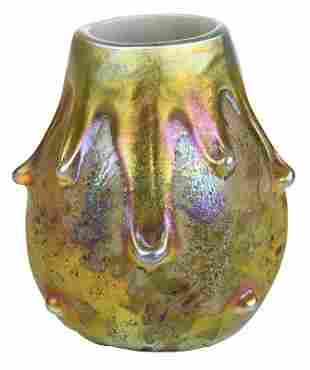 Tiffany Attributed Cypriote Lava Art Glass Vase