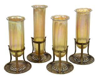 Four Tiffany Gold Favrile Glass Vase Inserts
