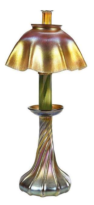 Tiffany Favrile Art Glass Candle Lamp