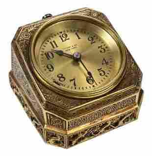 "Tiffany Studios Gilt Bronze ""Venetian"" Desk Clock"