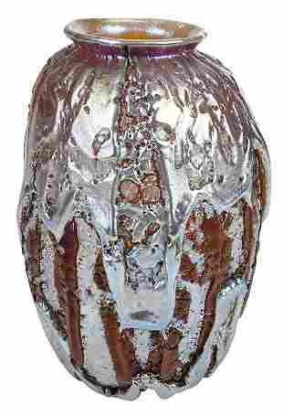 "Durand Crackled Art Glass ""Lava"" Vase"