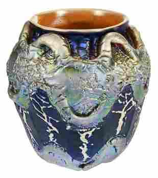 "Durand Iridescent Crackled Art Glass ""Lava"" Vase"