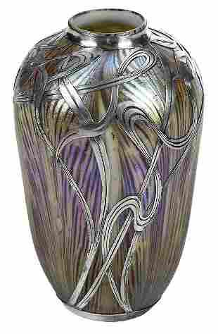 Quezal Art Glass Vase with Alvin Silver Overlay