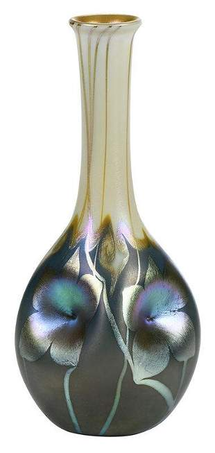 Quezal Hooked Feather Art Glass Vase