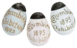 Three Libbey Souvenir Glass Egg Form Salt Shakers