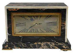 French Art Deco Marble and Bronze Mantel Clock