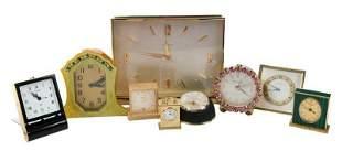 Nine Travel and Desk Clocks, Including Tiffany