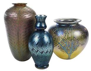 Three Signed Contemporary Art Glass Vases
