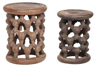 Two West African Carved Fruit Bat Motif Stools