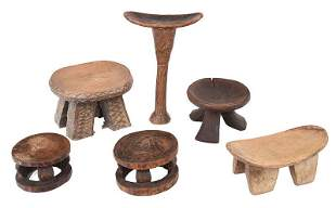 Group of Six Assorted West African Carved Stools