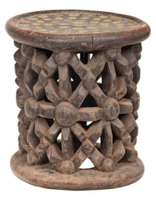 West African Carved Stool with Coin Inlaid Seat
