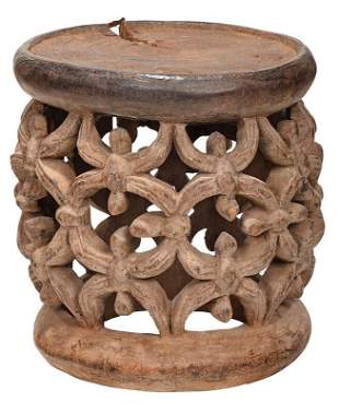 Carved West African Spider Motif Stool