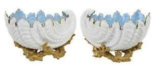 Pair Coalport Porcelain Shell Form Bowls