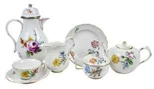 22 Piece Meissen Porcelain Coffee and Tea Set