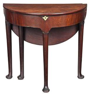 Queen Anne Figured Mahogany Demilune Table