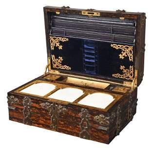 Gothic Revival Coromandel and Brass Lap Desk